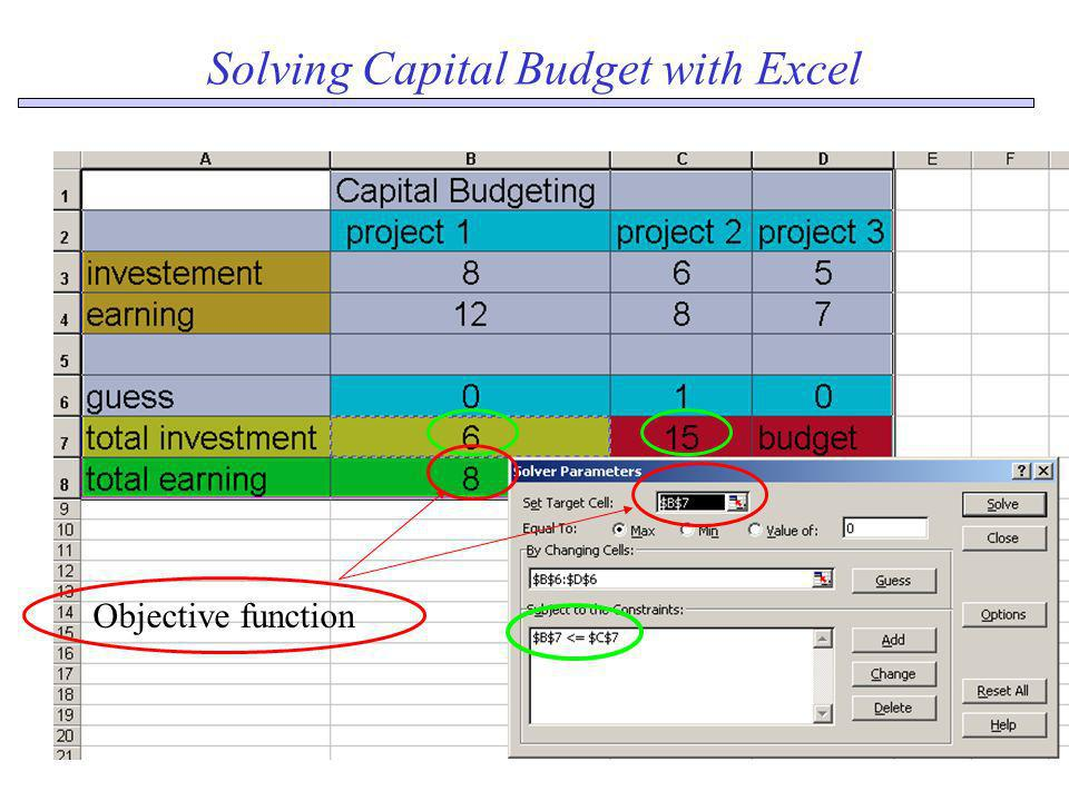 Solving Capital Budget with Excel Objective function