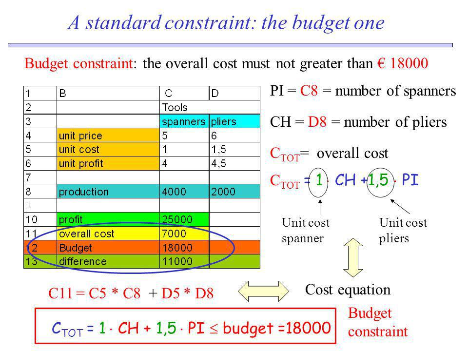 A standard constraint: the budget one Budget constraint: the overall cost must not greater than 18000 C TOT = overall cost CH = D8 = number of pliers