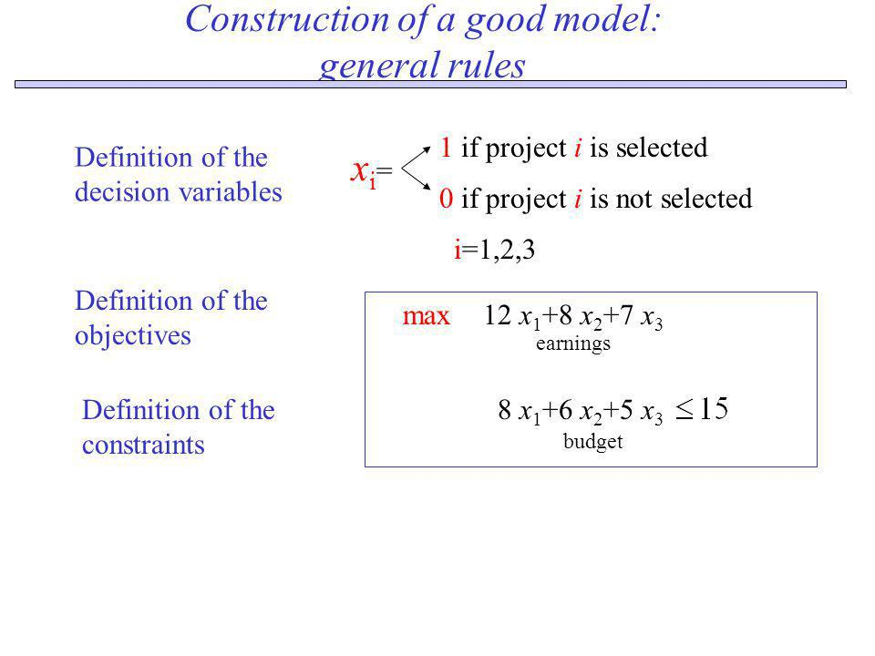 Construction of a good model: general rules xi=xi= 1 if project i is selected 0 if project i is not selected Definition of the objectives 12 x 1 +8 x