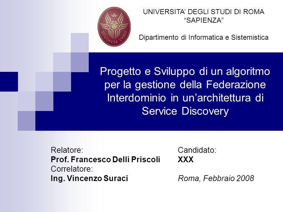 Progetto e Sviluppo di un algoritmo per la gestione della Federazione Interdominio in unarchitettura di Service Discovery Candidato: XXX Roma, Febbrai