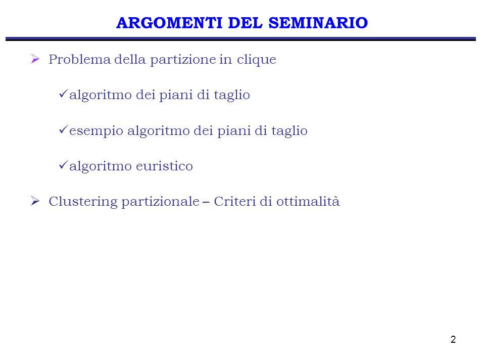 33 APPLICAZIONE ALGORITMO Sia i = 2 e poniamo S = { 2 } Definiamo W = { 5, 6 } Poniamo T = { 5 } e verifichiamo: T = T { 6 } se x 56 = 0 Iterazione 2 T = { 5, 6 } x(S,T)= 1 1 Nessuna disequazione a 2 partizioni trovata con S = { 2 }