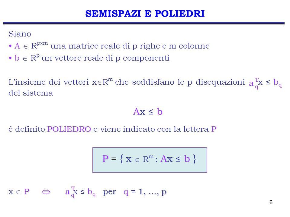 7 SEMISPAZI E FORMULAZIONI P P = { x R 2 : } Geometricamente, ogni disequazione del sistema Ax b individua un semispazio Esempio – m = 2 Consideriamo la retta P Quindi un poliedro P è intersezione di un numero finito q di semispazi.P P P = { x R p : Ax b } x1x1 x2x2
