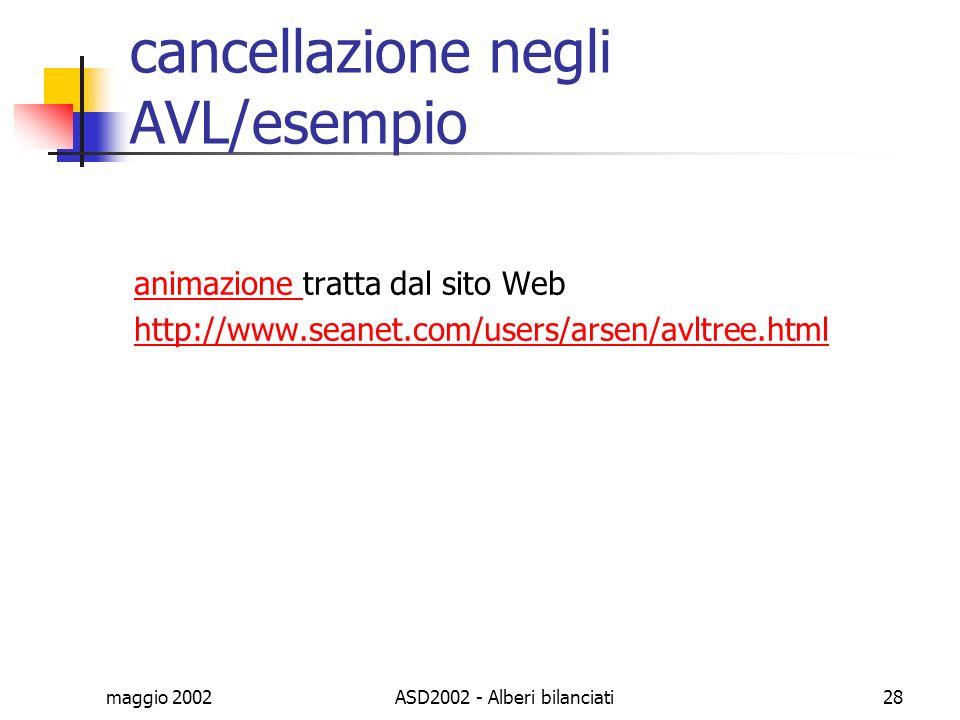 maggio 2002ASD2002 - Alberi bilanciati28 cancellazione negli AVL/esempio animazione animazione tratta dal sito Web http://www.seanet.com/users/arsen/a