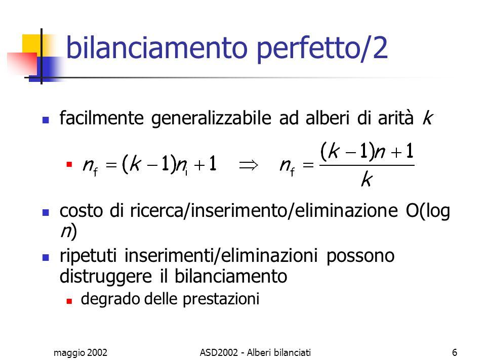 maggio 2002ASD2002 - Alberi bilanciati6 bilanciamento perfetto/2 facilmente generalizzabile ad alberi di arità k costo di ricerca/inserimento/eliminaz