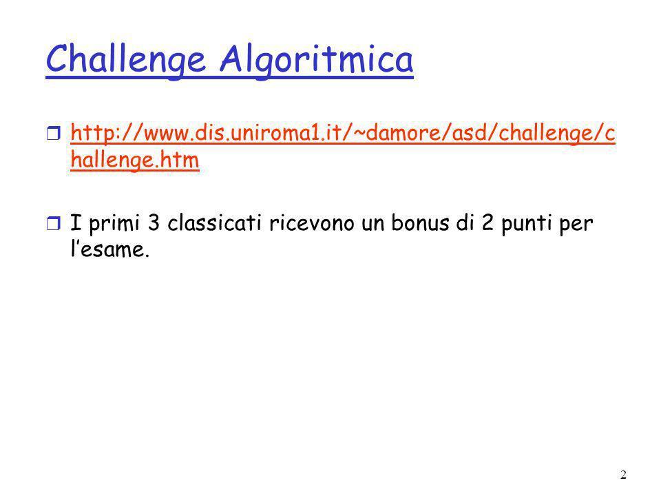 2 Challenge Algoritmica r http://www.dis.uniroma1.it/~damore/asd/challenge/c hallenge.htm http://www.dis.uniroma1.it/~damore/asd/challenge/c hallenge.htm r I primi 3 classicati ricevono un bonus di 2 punti per lesame.