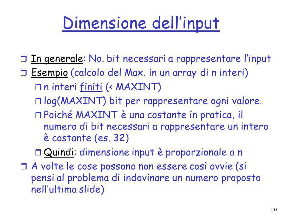 20 Dimensione dellinput r In generale: No.