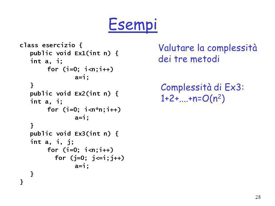 28 Esempi class esercizio { public void Ex1(int n) { int a, i; for (i=0; i<n;i++) a=i; } public void Ex2(int n) { int a, i; for (i=0; i<n*n;i++) a=i; } public void Ex3(int n) { int a, i, j; for (i=0; i<n;i++) for (j=0; j<=i;j++) a=i; } Valutare la complessità dei tre metodi Complessità di Ex3: 1+2+....+n=O(n 2 )