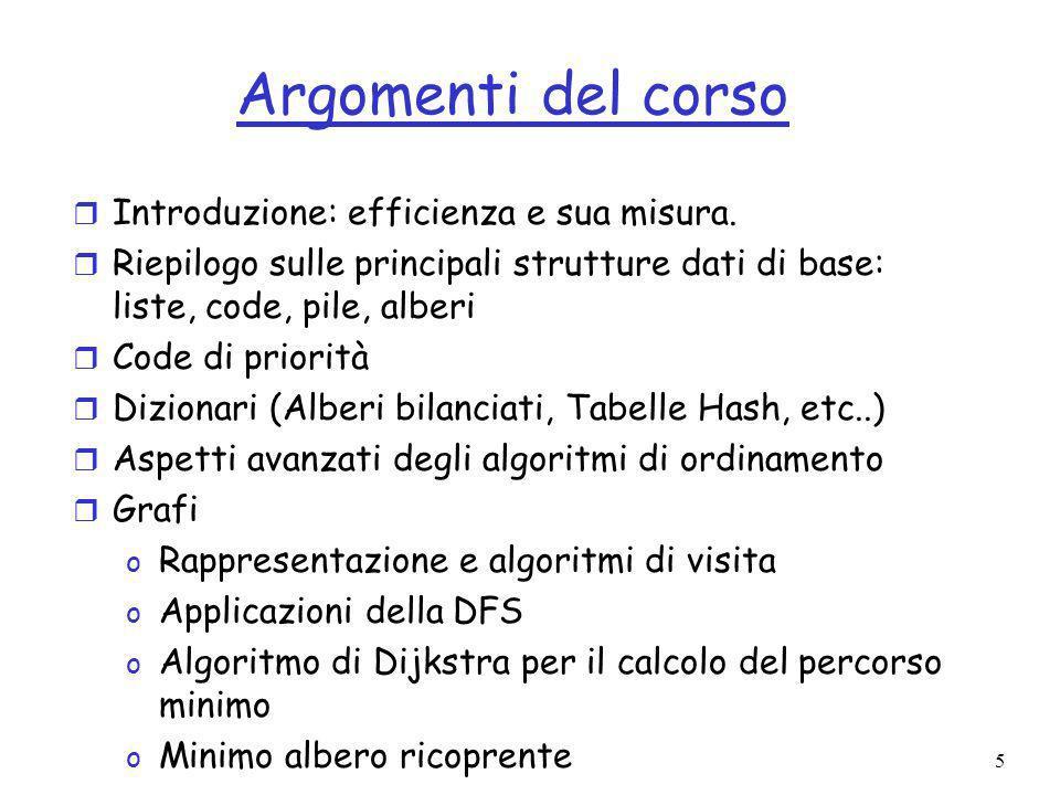 5 Argomenti del corso r Introduzione: efficienza e sua misura.