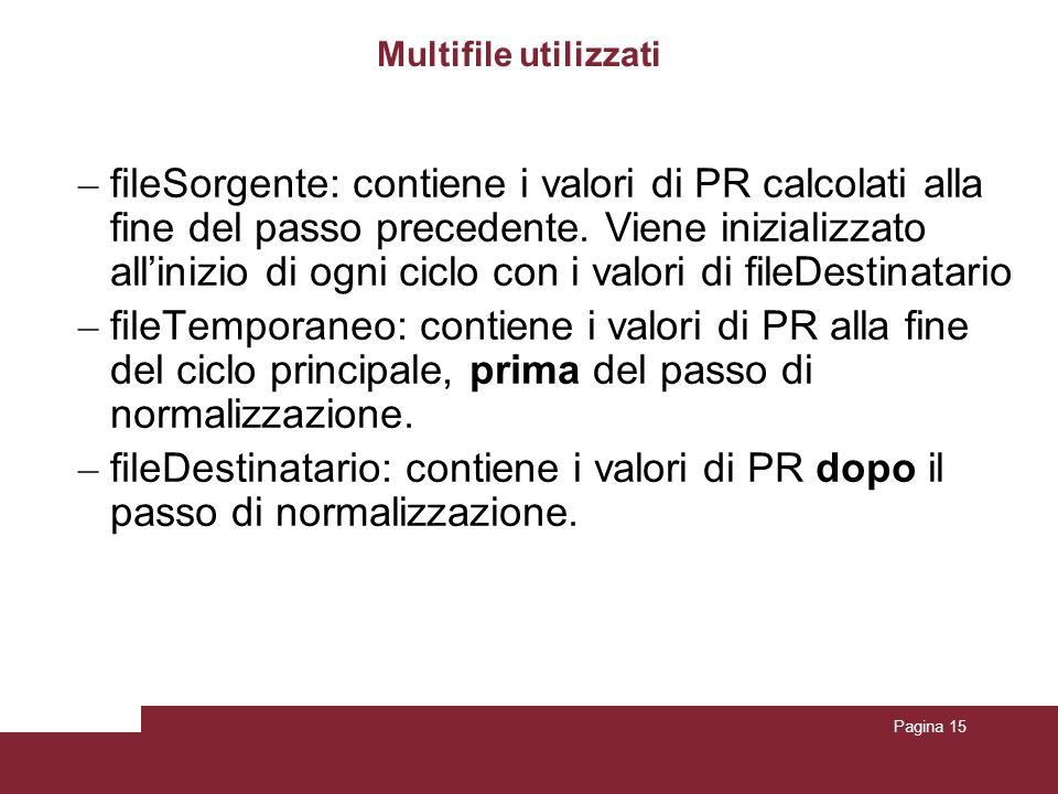 Pagina 15 Multifile utilizzati – fileSorgente : contiene i valori di PR calcolati alla fine del passo precedente. Viene inizializzato allinizio di ogn