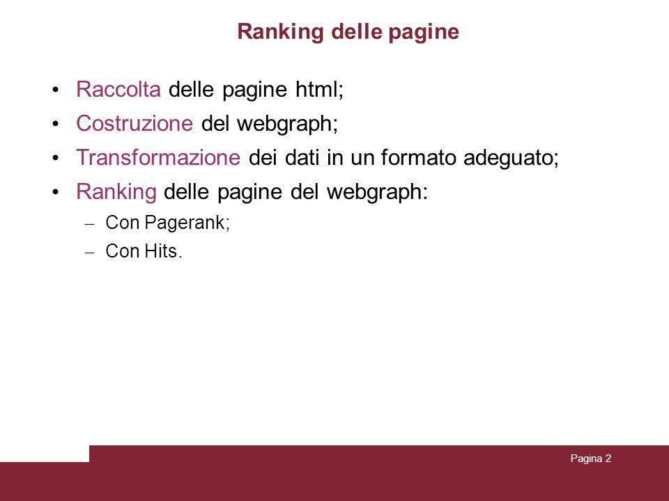 Pagina 2 Ranking delle pagine Raccolta delle pagine html; Costruzione del webgraph; Transformazione dei dati in un formato adeguato; Ranking delle pag