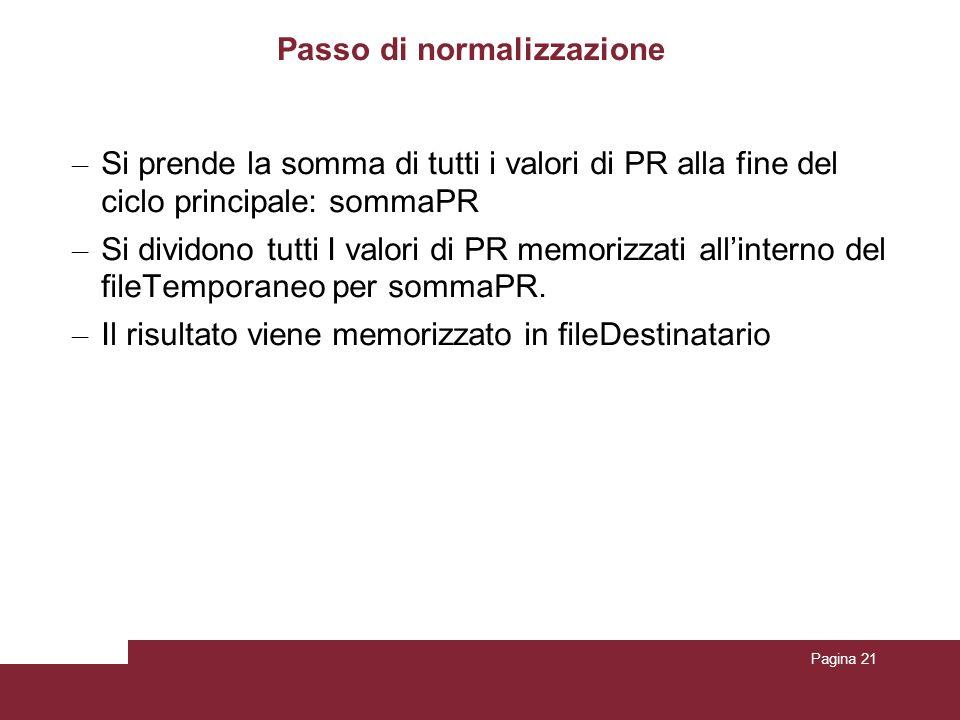 Pagina 21 Passo di normalizzazione – Si prende la somma di tutti i valori di PR alla fine del ciclo principale: sommaPR – Si dividono tutti I valori d