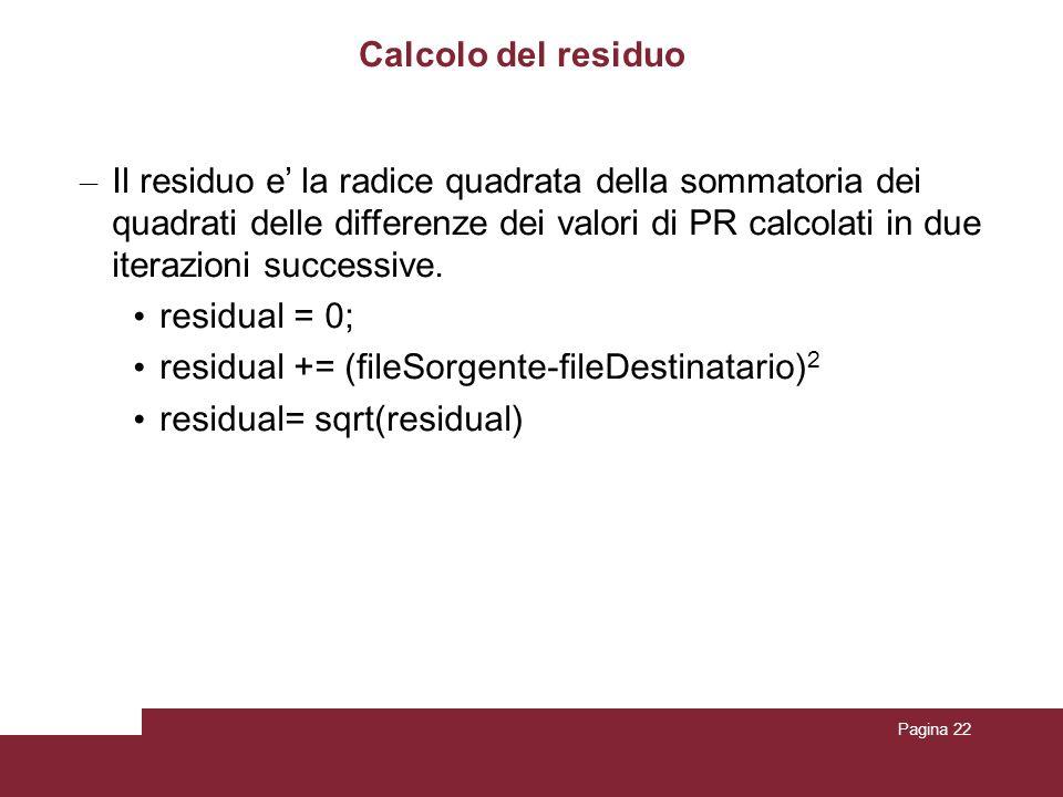 Pagina 22 Calcolo del residuo – Il residuo e la radice quadrata della sommatoria dei quadrati delle differenze dei valori di PR calcolati in due itera