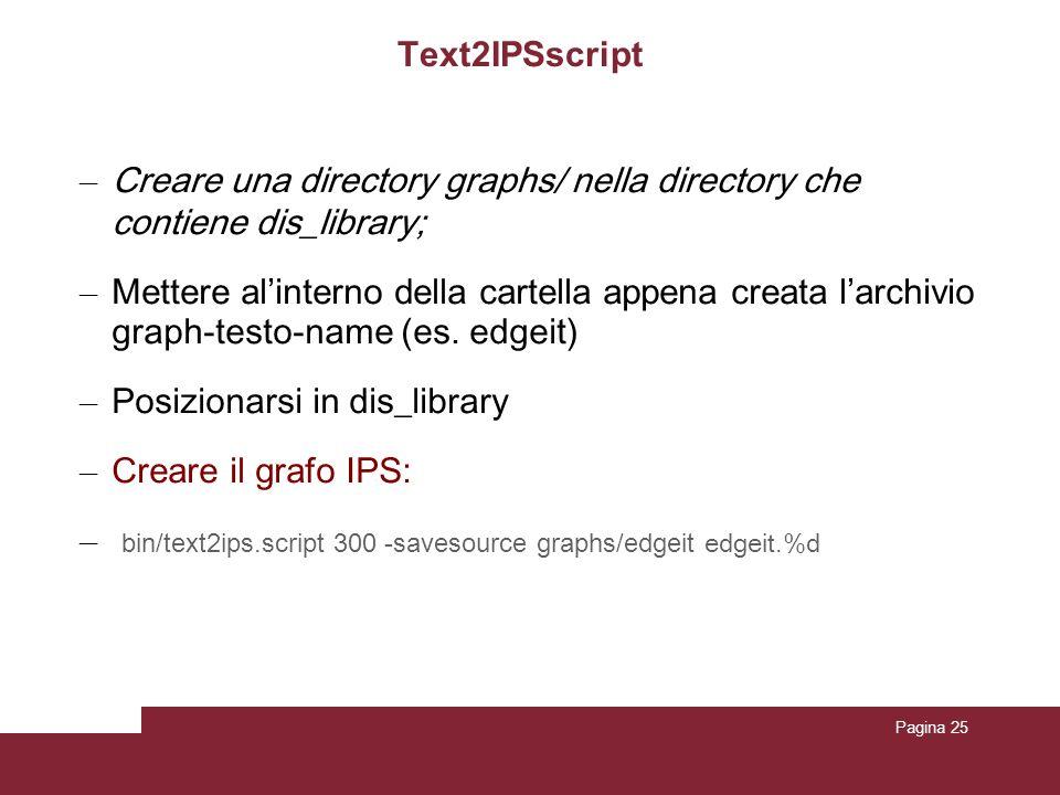 Pagina 25 Text2IPSscript – Creare una directory graphs/ nella directory che contiene dis_library; – Mettere alinterno della cartella appena creata lar