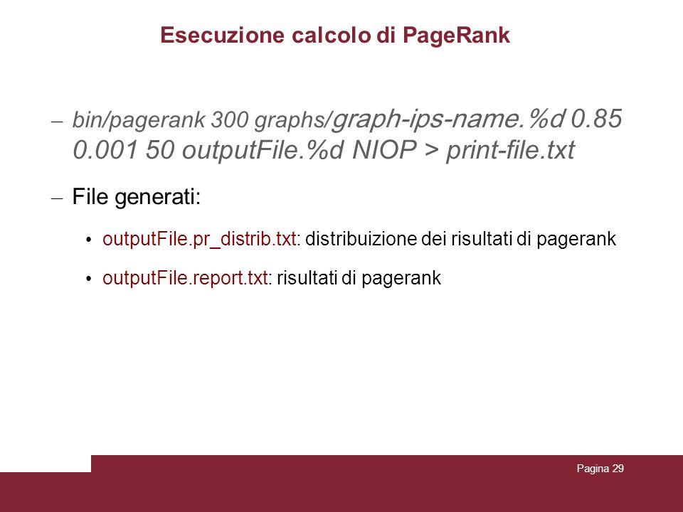 Pagina 29 Esecuzione calcolo di PageRank – bin/pagerank 300 graphs/ graph-ips-name.%d 0.85 0.001 50 outputFile.%d NIOP > print-file.txt – File generat