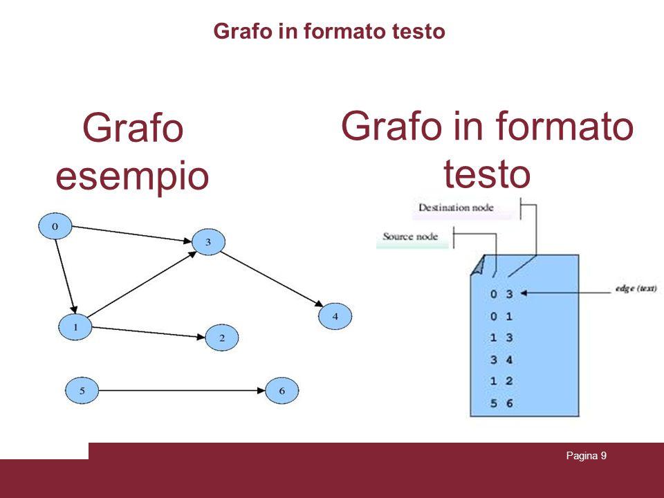 Pagina 9 Grafo in formato testo Grafo esempio Grafo in formato testo