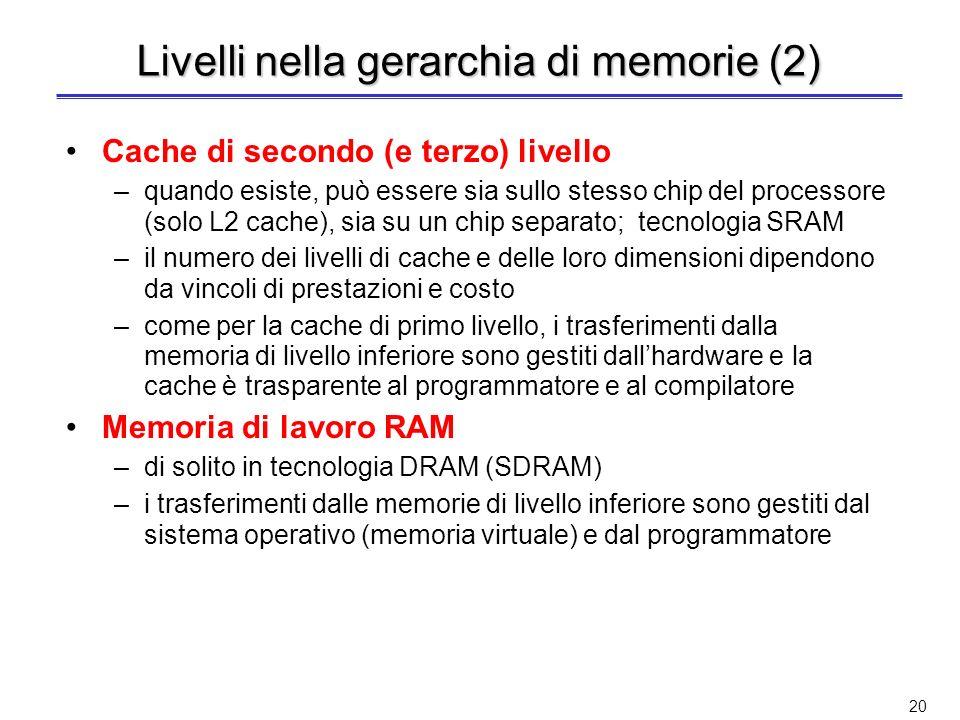 19 Livelli nella gerarchia di memorie Basandosi sul principio di località, la memoria di un calcolatore è realizzata come una gerarchia di memorie Reg