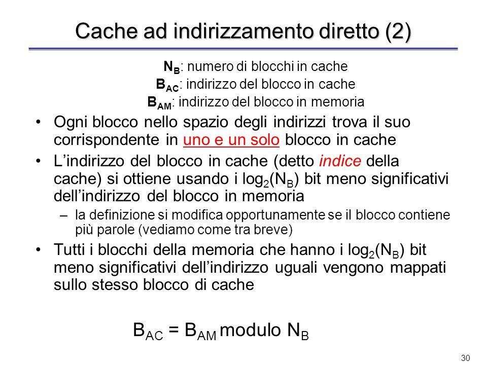 29 Cache ad indirizzamento diretto Esempio di cache ad indirizzamento diretto con 8 blocchi I blocchi di memoria con indirizzo 00001, 01001, 10001, 11