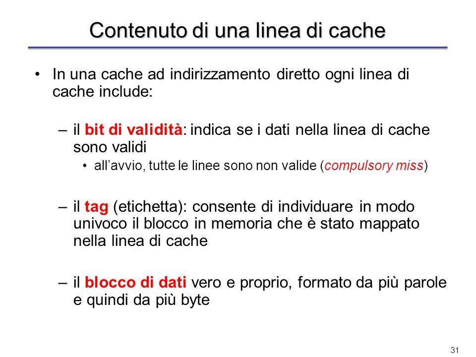 30 Cache ad indirizzamento diretto (2) N B : numero di blocchi in cache B AC : indirizzo del blocco in cache B AM : indirizzo del blocco in memoria Og