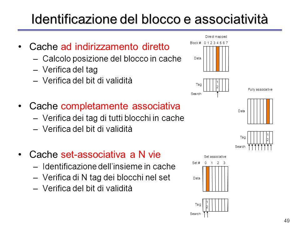 48 Dimensione del tag e associatività (non nel programma) Aumentando il grado di associatività –Aumenta il numero dei comparatori ed il numero di bit