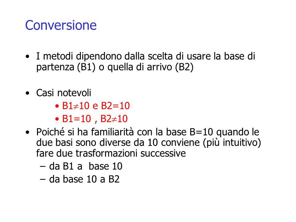 Conversione I metodi dipendono dalla scelta di usare la base di partenza (B1) o quella di arrivo (B2) Casi notevoli B1 10 e B2=10 B1=10, B2 10 Poiché