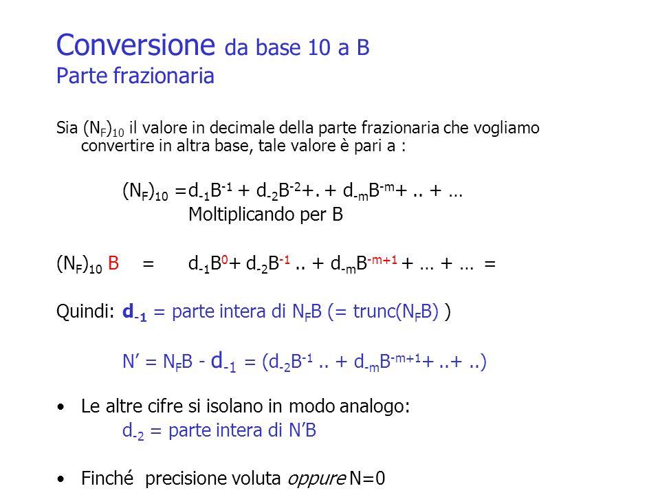 Conversione da base 10 a B Parte frazionaria Sia (N F ) 10 il valore in decimale della parte frazionaria che vogliamo convertire in altra base, tale v