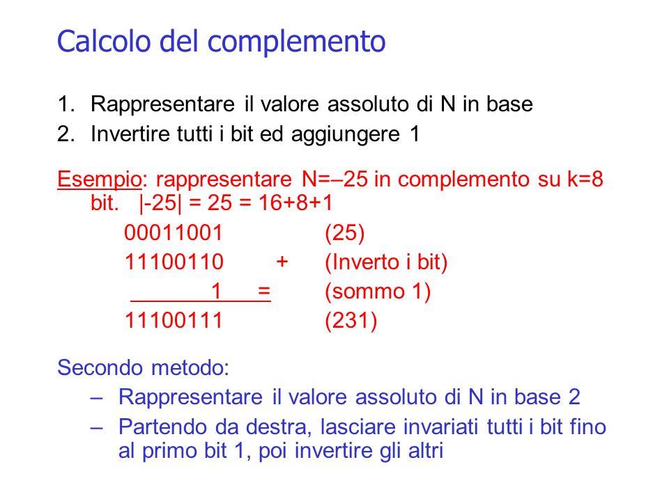 Calcolo del complemento 1.Rappresentare il valore assoluto di N in base 2.Invertire tutti i bit ed aggiungere 1 Esempio: rappresentare N=–25 in comple