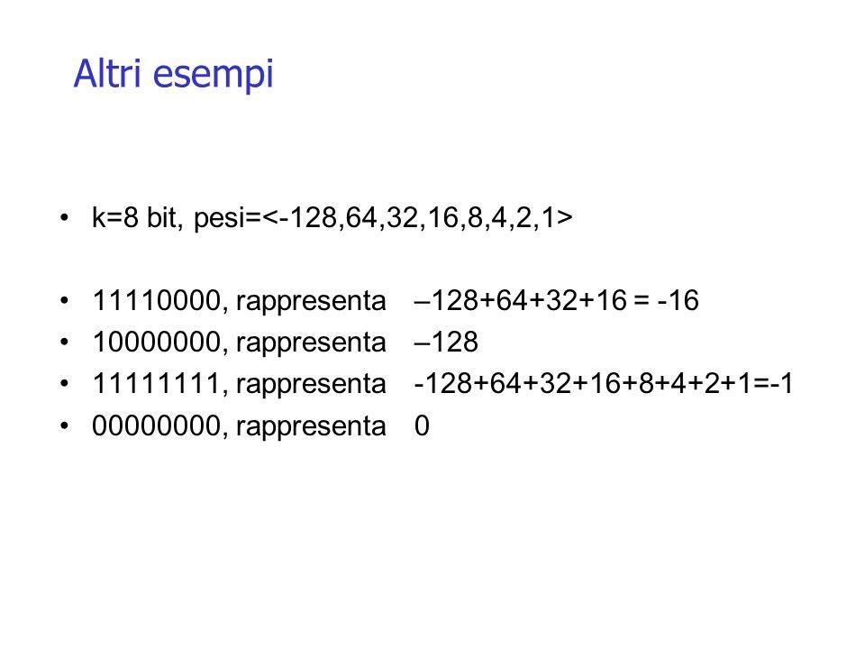 Altri esempi k=8 bit, pesi= 11110000, rappresenta –128+64+32+16 = -16 10000000, rappresenta –128 11111111, rappresenta -128+64+32+16+8+4+2+1=-1 000000