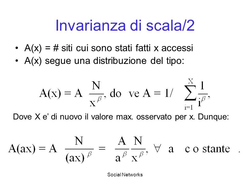Social Networks Invarianza di scala/2 A(x) = # siti cui sono stati fatti x accessi A(x) segue una distribuzione del tipo: Dove X e di nuovo il valore