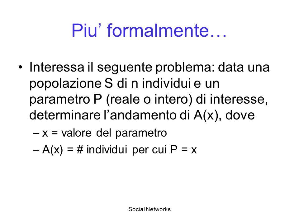 Social Networks Piu formalmente… Interessa il seguente problema: data una popolazione S di n individui e un parametro P (reale o intero) di interesse, determinare landamento di A(x), dove –x = valore del parametro –A(x) = # individui per cui P = x