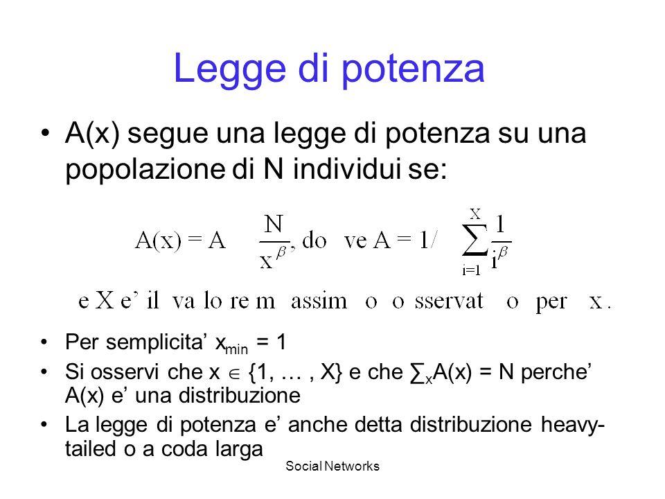 Social Networks Legge di potenza Per semplicita x min = 1 Si osservi che x {1, …, X} e che x A(x) = N perche A(x) e una distribuzione La legge di potenza e anche detta distribuzione heavy- tailed o a coda larga A(x) segue una legge di potenza su una popolazione di N individui se: