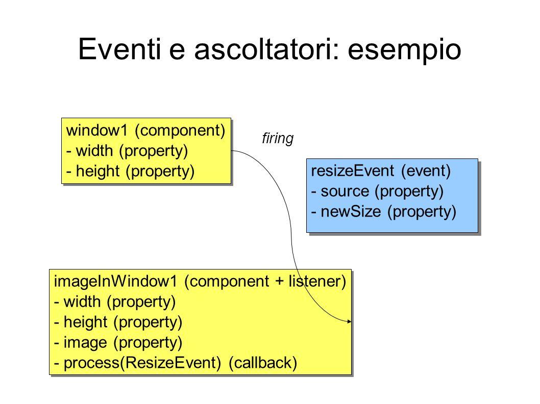 Eventi e ascoltatori: esempio window1 (component) - width (property) - height (property) window1 (component) - width (property) - height (property) im