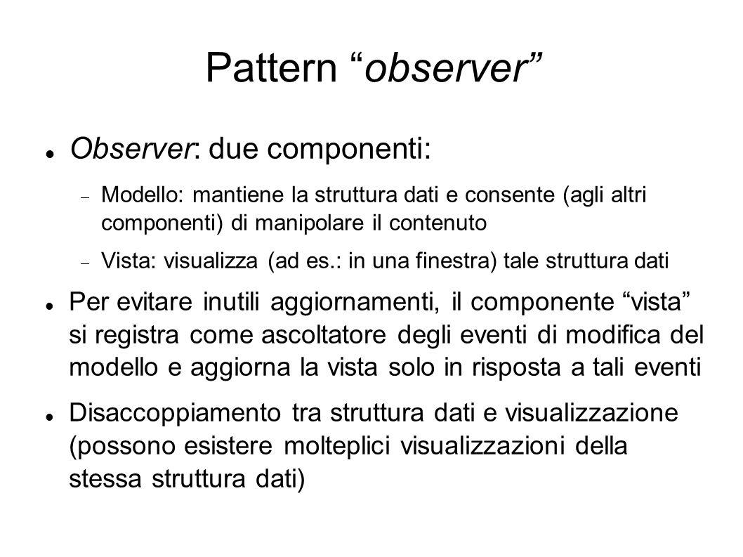Pattern observer Observer: due componenti: Modello: mantiene la struttura dati e consente (agli altri componenti) di manipolare il contenuto Vista: vi