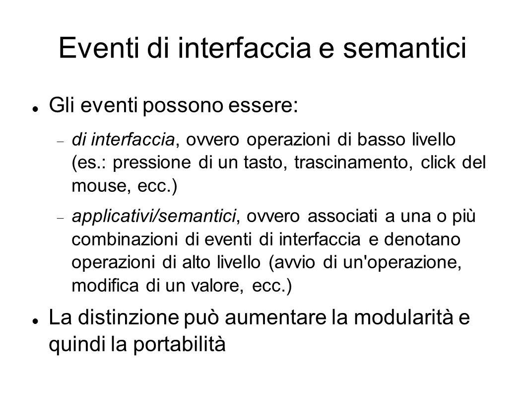 Eventi di interfaccia e semantici Gli eventi possono essere: di interfaccia, ovvero operazioni di basso livello (es.: pressione di un tasto, trascinam