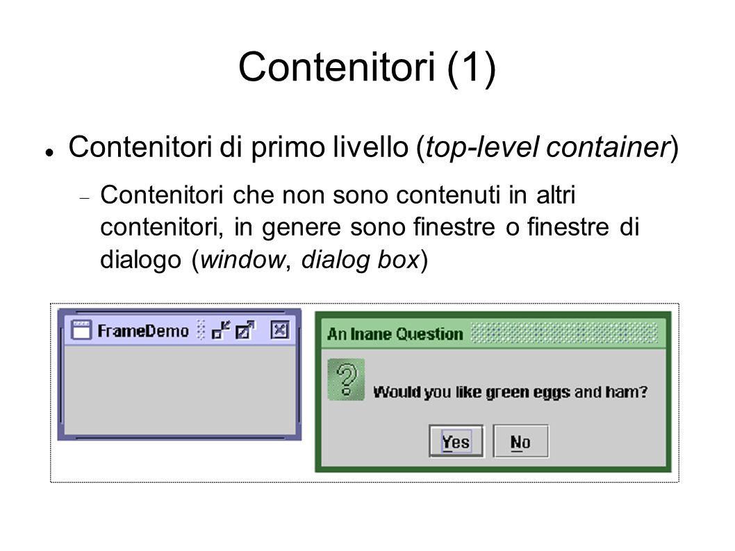 Contenitori (1) Contenitori di primo livello (top-level container) Contenitori che non sono contenuti in altri contenitori, in genere sono finestre o