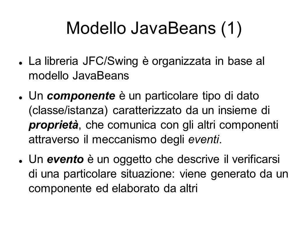 Modello JavaBeans (1) La libreria JFC/Swing è organizzata in base al modello JavaBeans Un componente è un particolare tipo di dato (classe/istanza) ca