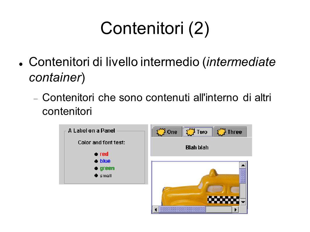 Contenitori (2) Contenitori di livello intermedio (intermediate container) Contenitori che sono contenuti all'interno di altri contenitori