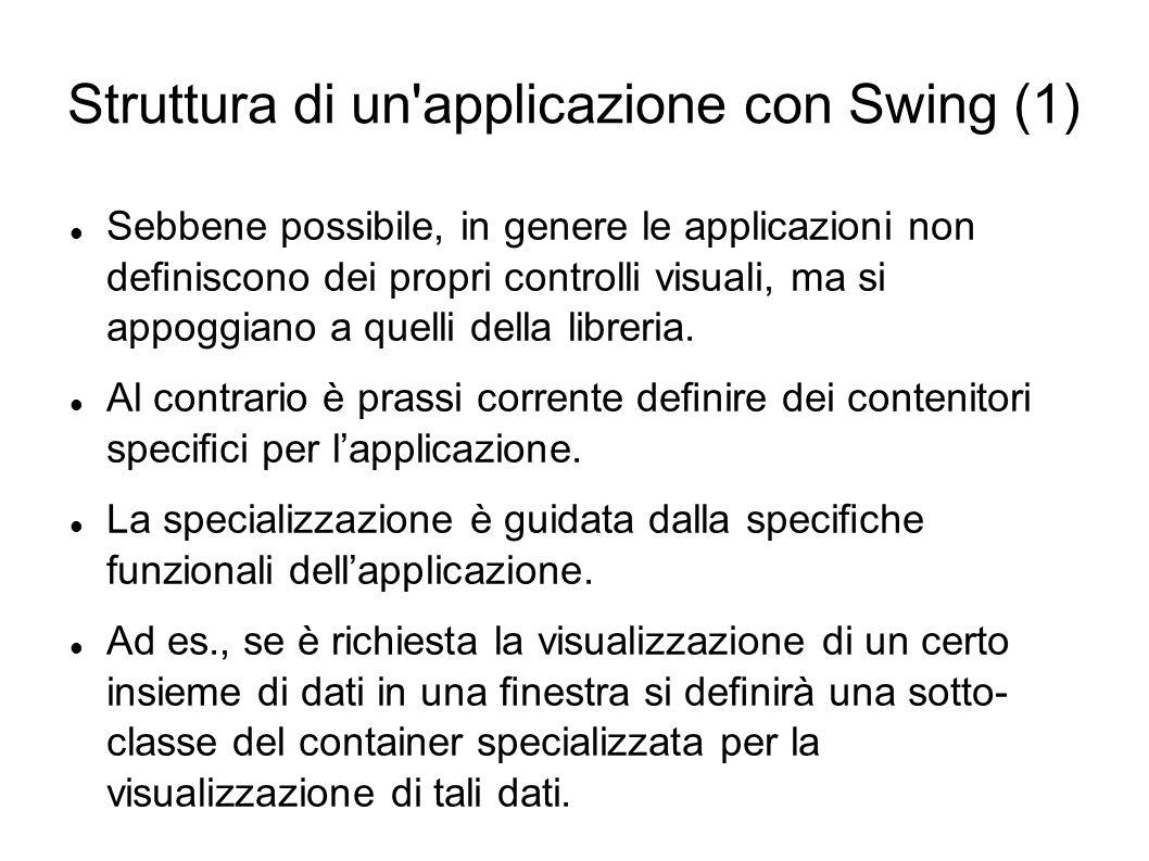Struttura di un'applicazione con Swing (1) Sebbene possibile, in genere le applicazioni non deniscono dei propri controlli visuali, ma si appoggiano a