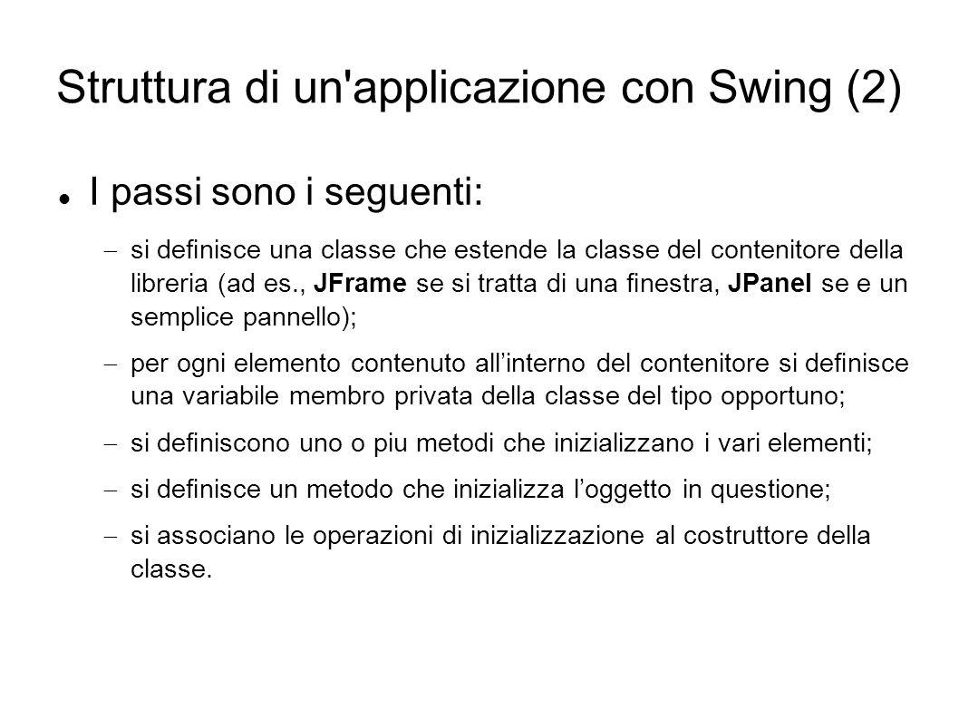 Struttura di un'applicazione con Swing (2) I passi sono i seguenti: si denisce una classe che estende la classe del contenitore della libreria (ad es.