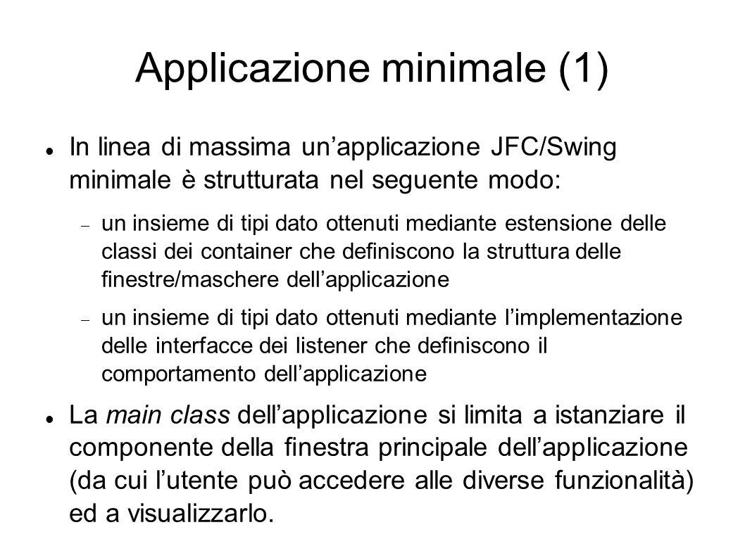 Applicazione minimale (1) In linea di massima unapplicazione JFC/Swing minimale è strutturata nel seguente modo: un insieme di tipi dato ottenuti medi