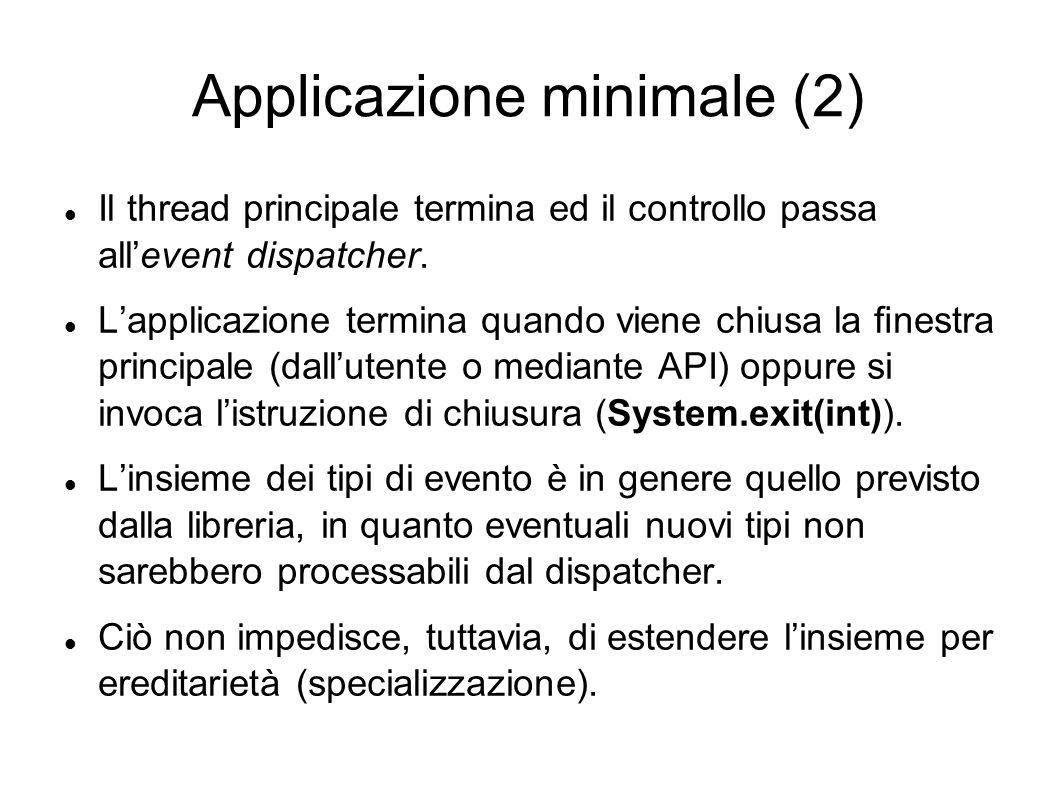 Applicazione minimale (2) Il thread principale termina ed il controllo passa allevent dispatcher. Lapplicazione termina quando viene chiusa la nestra