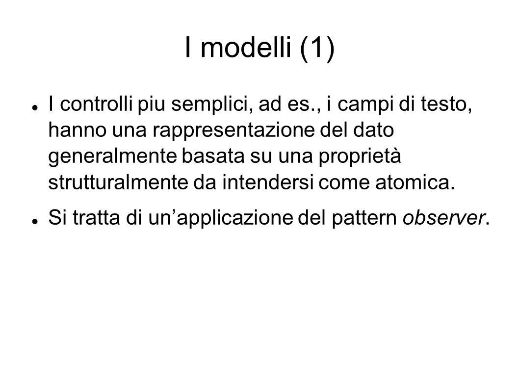 I modelli (1) I controlli piu semplici, ad es., i campi di testo, hanno una rappresentazione del dato generalmente basata su una proprietà strutturalm