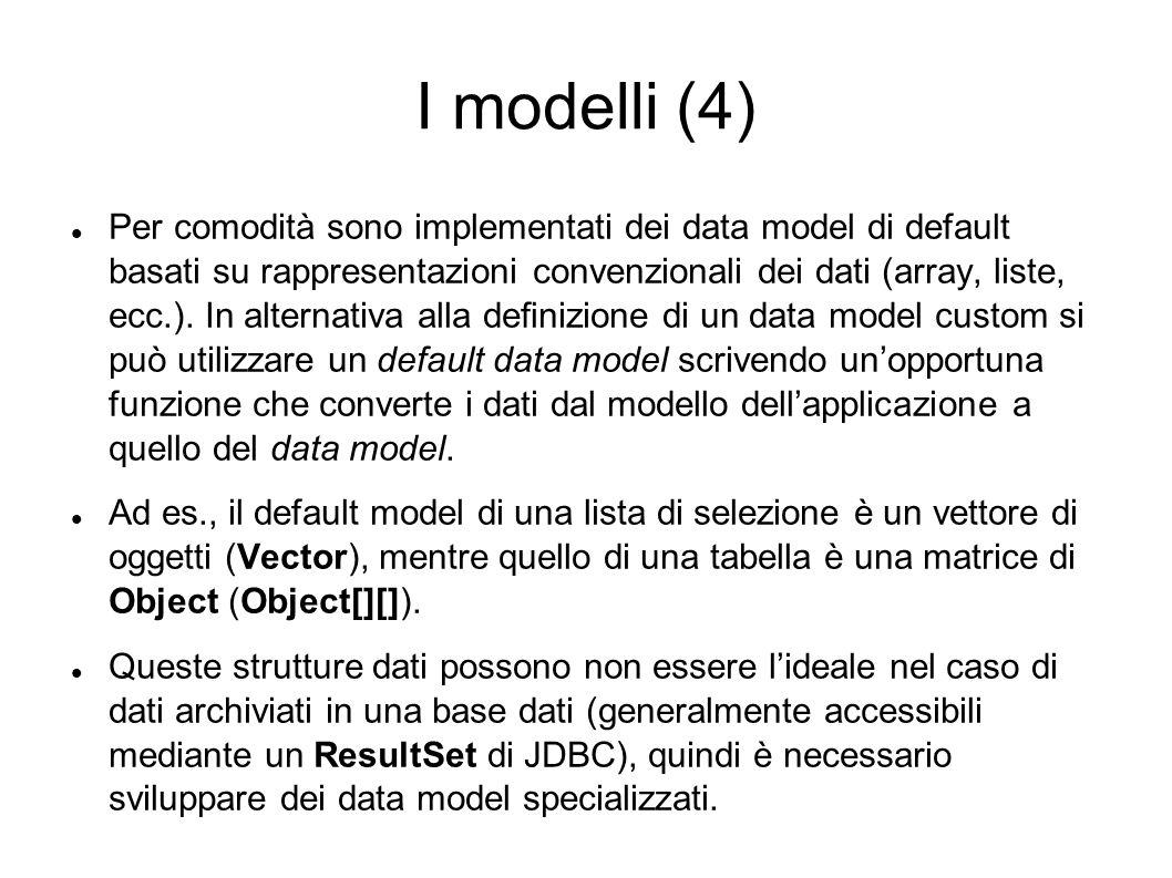 I modelli (4) Per comodità sono implementati dei data model di default basati su rappresentazioni convenzionali dei dati (array, liste, ecc.). In alte