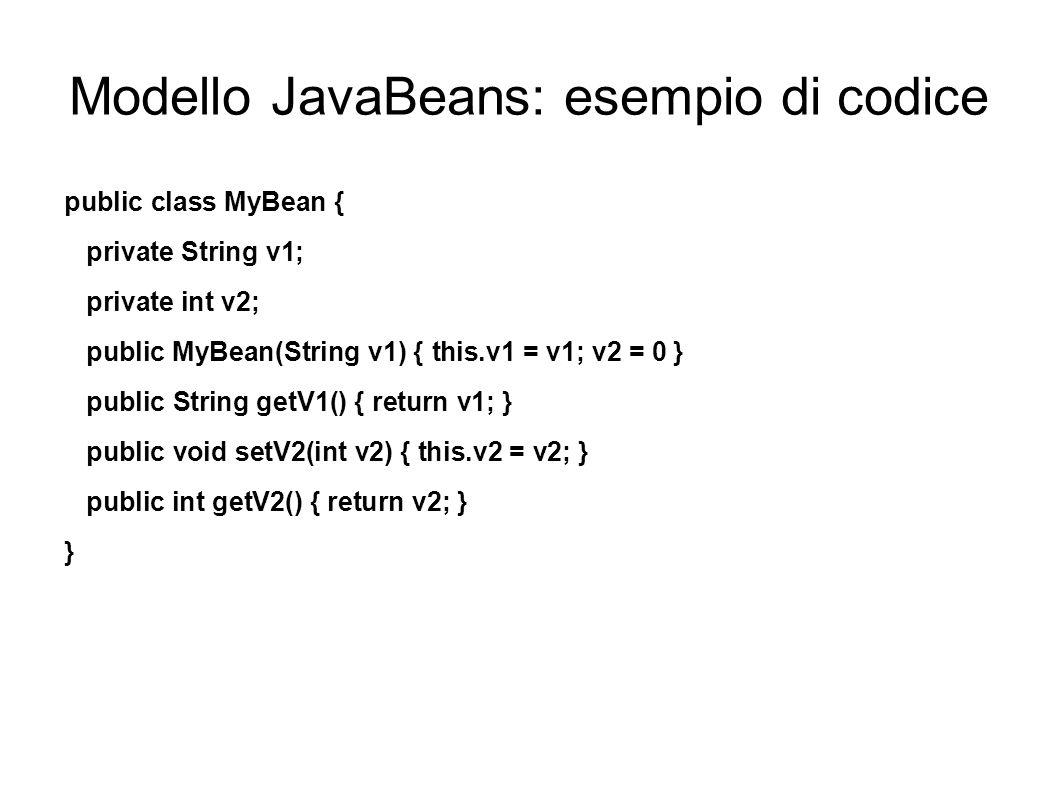Modello JavaBeans: esempio di codice public class MyBean { private String v1; private int v2; public MyBean(String v1) { this.v1 = v1; v2 = 0 } public
