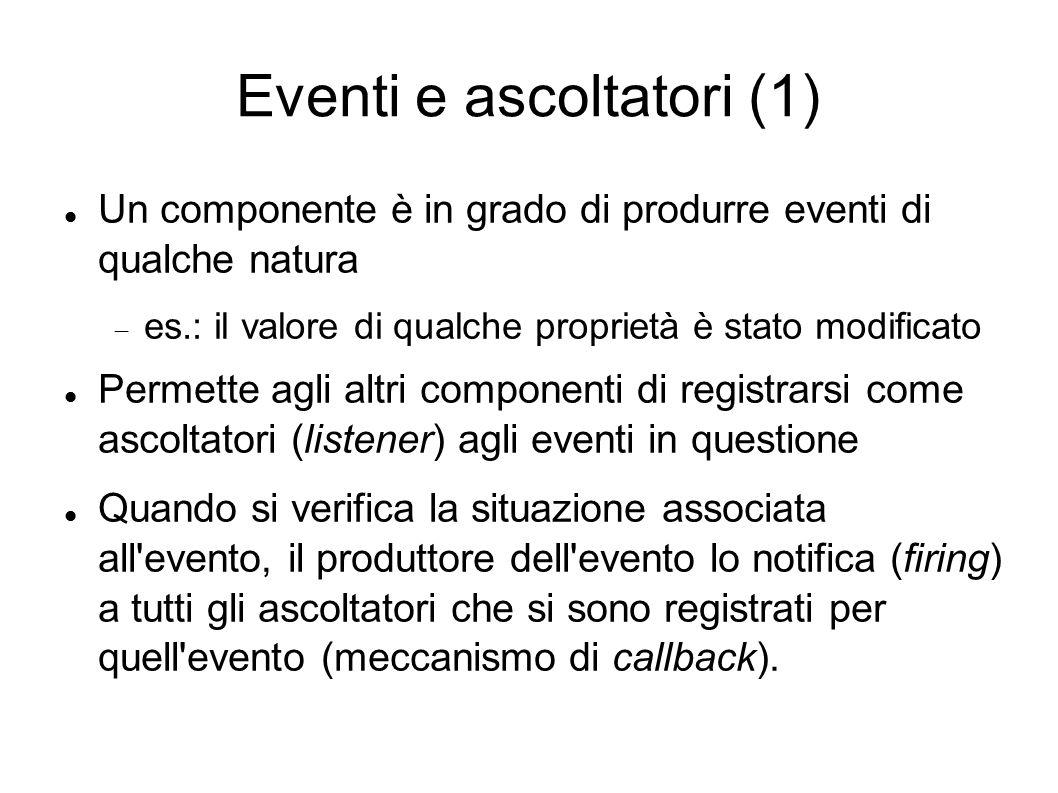 Eventi e ascoltatori (1) Un componente è in grado di produrre eventi di qualche natura es.: il valore di qualche proprietà è stato modificato Permette