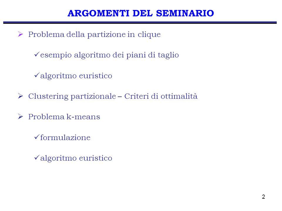 13 APPLICAZIONE ALGORITMO Sia i = 5 e poniamo S = { 5 } Definiamo W = { 2, 3, 4 } Poniamo T = { 2 } e verifichiamo: T = T { 3 } se x 23 = 0 Iterazione 5 T = { 2, 3 } T = T { 4 } se x 43 = 0 e x 42 = 0 T = { 2, 3, 4 } x(S,T)= 3 / 2 >1 S T