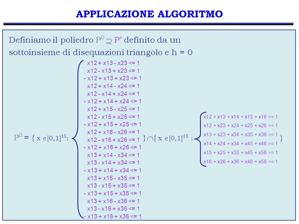 25 applichiamo il metodo del branch and bound per risolvere il problema di PL01 e ricaviamo la soluzione x 3 di costo 10.7 APPLICAZIONE ALGORITMO STOP la soluzione x 3 è una soluzione 0-1 la soluzione x 3 rispetta le disequazioni triangolo x 3 P la soluzione x 3 è la soluzione ottima del problema