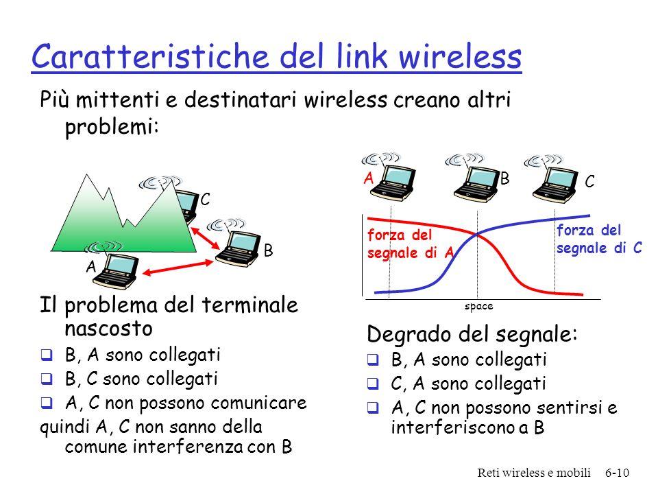 Reti wireless e mobili6-10 Caratteristiche del link wireless Più mittenti e destinatari wireless creano altri problemi: A B C Il problema del terminal