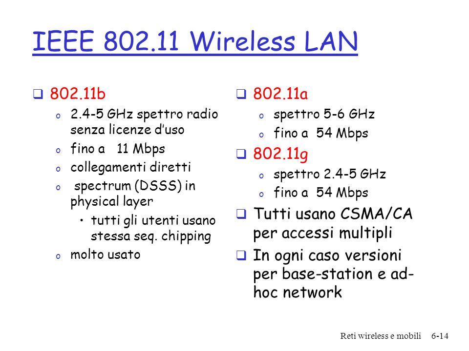 Reti wireless e mobili6-14 IEEE 802.11 Wireless LAN 802.11b o 2.4-5 GHz spettro radio senza licenze duso o fino a 11 Mbps o collegamenti diretti o spe