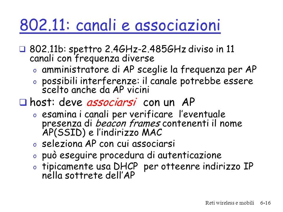 Reti wireless e mobili6-16 802.11: canali e associazioni 802.11b: spettro 2.4GHz-2.485GHz diviso in 11 canali con frequenza diverse o amministratore d
