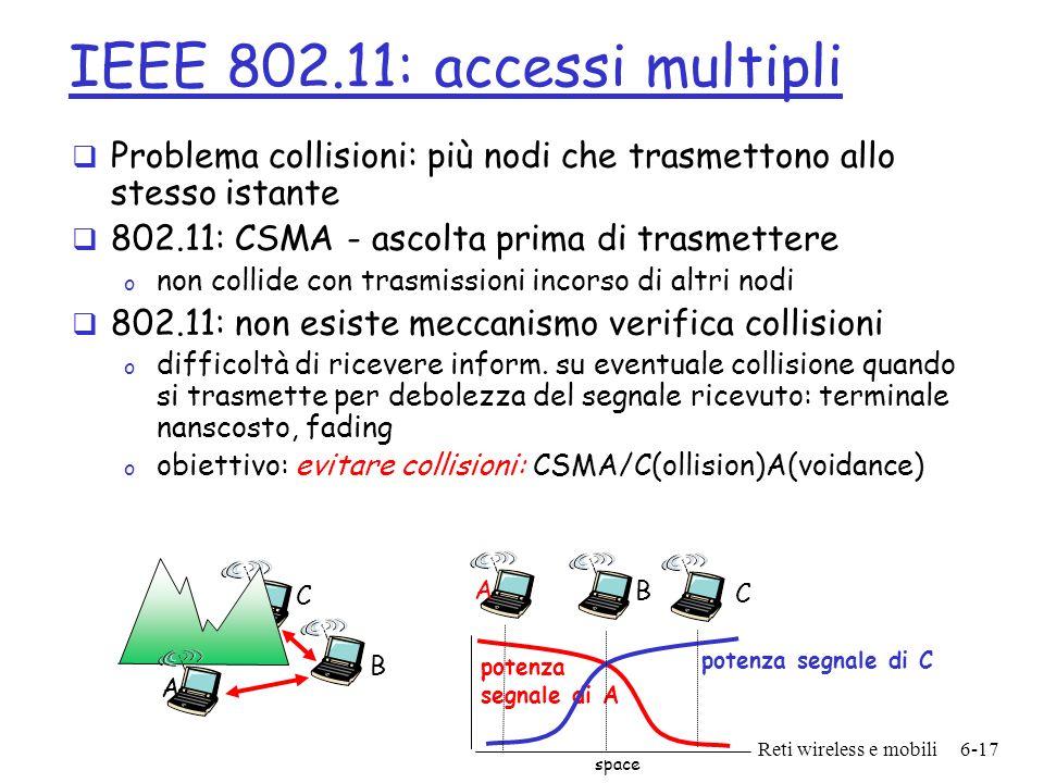 Reti wireless e mobili6-17 IEEE 802.11: accessi multipli Problema collisioni: più nodi che trasmettono allo stesso istante 802.11: CSMA - ascolta prim